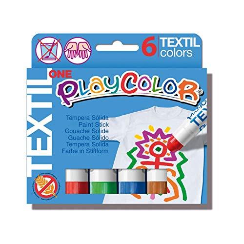 Playcolor Textil one - Pintura Para Ropa - 6 colores surtidos - 10401 (Juguete)