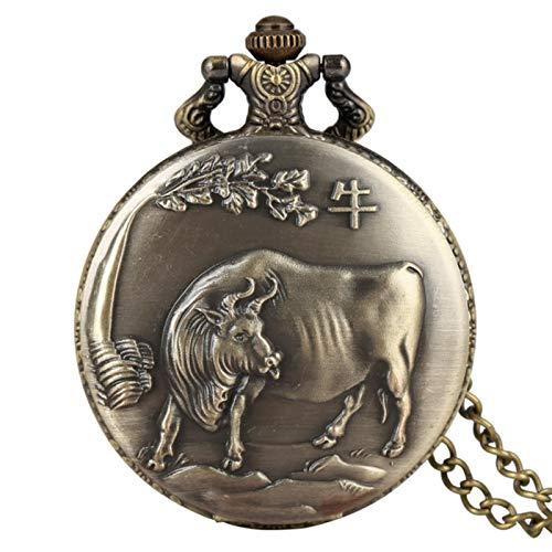 keke Antique Animal Montre Collier Pendentif Bronze Zodiaque Chinois Cadeaux commémoratifs Ancienne Montre en Bronze Fob chaîne, Boeuf