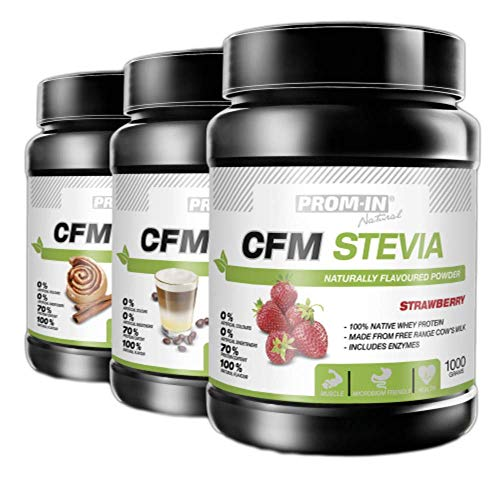Naturally Flavoured Native whey Protein Powder Shake CFM STEVIA by PROM-IN Without additives - no preservatives, no Artificial Colours (Strawberry)