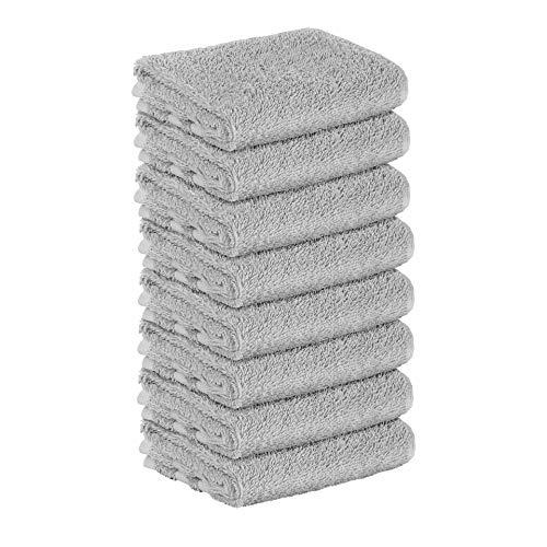 8 Stück Premium Frottee Gästehandtücher 30x50 cm in hellgrau von StickandShine in 500g/m² aus 100{5f1084110b024a775da2a0542b5edb224417be16adffd108bb843f5fe3f289aa} Baumwolle Öko-TEX Standard 100 Materialien