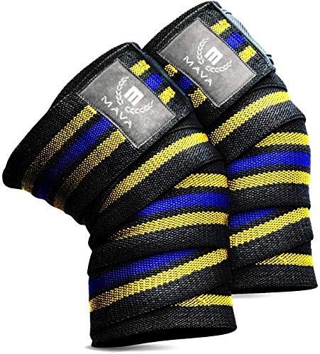 """Mava Sports Knee Wraps (Pair) for Cross Training WODs,Gym Workout,Weightlifting,Fitness & Powerlifting - Knee Straps for Squats - for Men & Women- 72""""-Compression & Elastic Support (Yellow Blue)"""