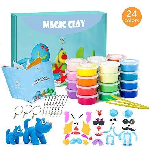 Modelliermasse Kit - 24 Farben Lufttrockener Magischer Knete für Kinder, DIY Formton mit Werkzeugen, Tierisches Zubehör, Kinder Kunsthandwerk Geschenk für Jungen und Mädchen im Alter von 3-12 Jahren