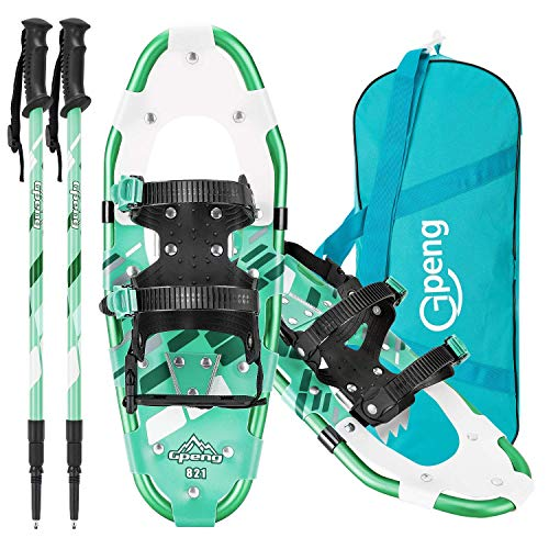 Gpeng 3-in-1 Lightweight Snowshoes Set for Women Youth Kids, Aluminum Terrain Snow Shoes with Trekking Poles and Carrying Tote Bag (Green, 14 inch)