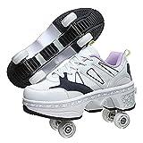 FUYY VIIPOOPatines Enrollables Damas Deformes Multifuncionales, Zapatos Unisex Roller Patines Adultos,Patinetas Deportivas Al Aire Libre, Unisex Principiantes Regalo,White-35