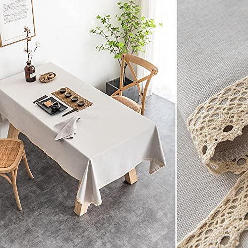 XQSSB Manteles Mesa Rectangular Impermeable Lino Di Cotone Decoración de Mesa para Cocina y Comedor Beige 90 × 140cm