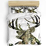 3 Pcs Queen Duvet Cover Set - Deer Elk Realtrees Real Tree Silhouette Design Soft Breathable Bedding Set with Zipper Closure and 2 Pillow Shams (Not Including Comforter)