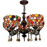 Lcxghs Lámparas de Techo, lámparas de Cristal, Estilo del Arte clásico del vitral 5 Brazo Restaurante lámpara del Dormitorio de la Sala 80 * 60cm