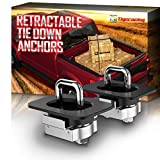 Tigeracing Tie Down Anchors Retractable Truck Bed Top Side D Ring Compatible with 1995-2018 Ram 1500 2500 3500 (NOT for 2019) - 3000 LBS Capacity (of 2)