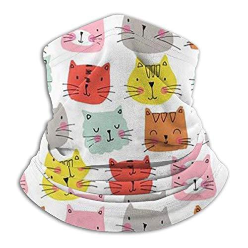 ShiHaiYunBai Halstuch/Kopftuch Fleece Neck Warmer - Lovely Color Cat Avatar Neck Gaiter Tube, Bandana, Headband & Beanie