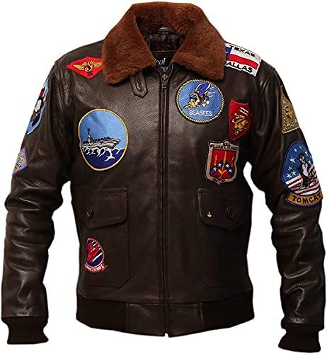 Top Gun USAAF Tom Cruise Pete Maverick Jet Pilot Flight WW2 Cazadora bombardera, chaqueta de cuello de piel de aviador G1 con parches bordados, chaqueta de cuero marrón azul marino A2