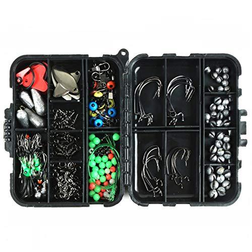 SZMYLED Juego de accesorios de pesca, 188 piezas, juego de accesorios para pesca de mar, caja de pesca giratoria, anzuelo, accesorios de pesca, juego de accesorios de pesca, color negro