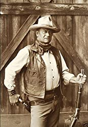John Wayne on the set of The Cowboys
