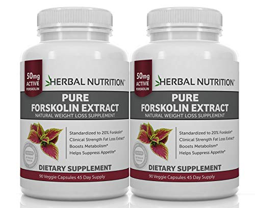 BOGO Sale, Forskolin for Weight Loss, 250mg-500mg Max Strength Forskolin Two 90 Count Bottles, 20% Extract of Pure Forskolin, Ideal Diet and Athletes Formula, Promotes Lean Body Mass and Weight Loss