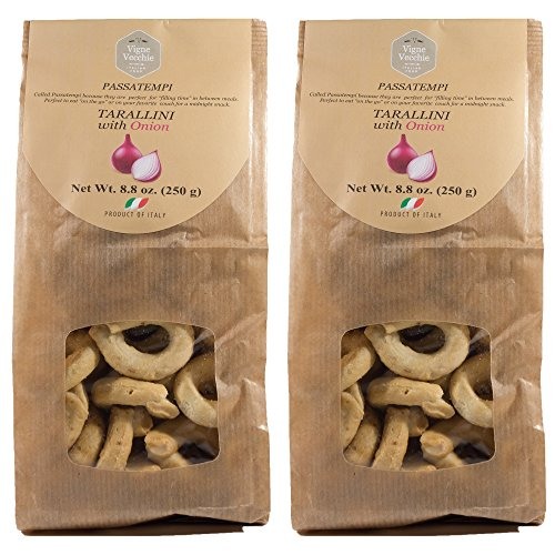Vigne Vecchie Tarallini with Onion 8.8 oz. (2 pack), Fresh Baked Breadsticks [Imported from Italy]