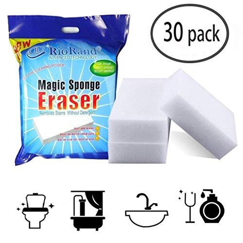 RioRand Magic Cleaning Eraser Sponge Clean Foam Pads for Kitchen Bathroom Toilet Floor Pack of 30