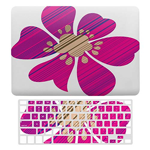 Macbook Air 13 Inch Case(A1369 & A1466, Older Version 2010 2017 Release), Plastic Hard Protective Laptop Case Shell With Keyboard Cover, Magenta Petal Graphics