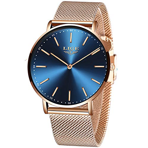 LIGE Uhren Herren Frauen Mode Sport wasserdichte Edelstahl Herrenuhren Ultradünne Einfache Lässige Rose Gold Quarz Unisex Armbanduhren Männer