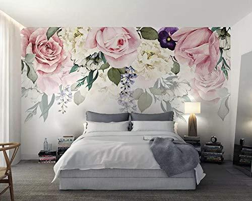 Papel Pintado Flores De Rosa Vintage Fotomural 3D Mural Pared Moderno Wallpaper