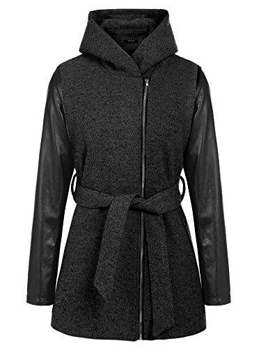 Zeagoo Damen Winterjacke Wintermantel Lange Parka Jacke Mantel Oberkleidung Schwarz XL