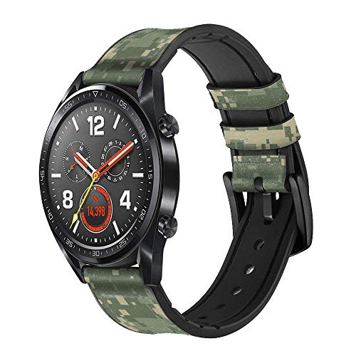 Innovedesire Digital Camo Camouflage Graphic Printed Correa de Reloj Inteligente de Cuero para Wristwatch Smartwatch Smart Watch Tamaño (24mm)