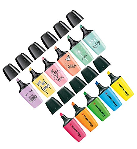 Textmarker - STABILO BOSS MINI - 5er Pack - gelb, blau, grün, orange, pink & Textmarker - STABILO BOSS MINI Pastellove - 6er Pack