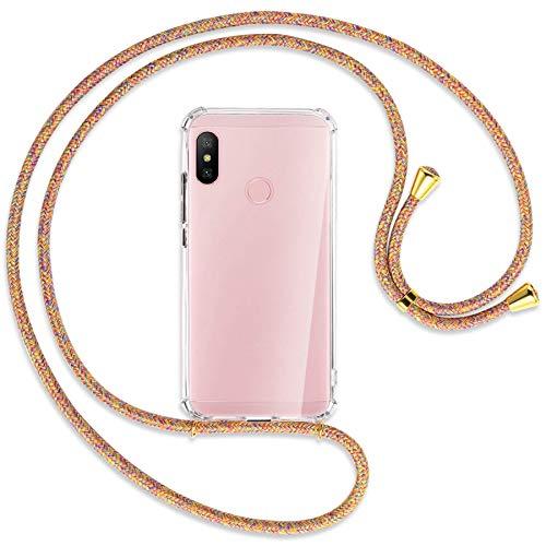 mtb More Energy® Collar Smartphone para Xiaomi Redmi Note 6 Pro (6.26'') - Rainbow/Oro - Funda Protectora ponible - Carcasa Anti Shock con Cuerda