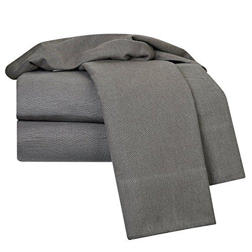 100% Egyptian Cotton Deep Pocket Flannel 4 Piece Bed Sheet Set King Size/Gray