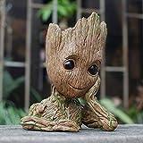 TPK Baby Groot Blumentopf Figur – Übertopf Groß Aquarium Deko Figur Holz Aschenbecher Stiftehalter – Innen - 2