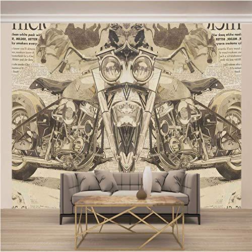 Psifound® 3D Wandbild Selbstklebende Tapete 400X280Cm Retro Nostalgisch Modern Motorrad 3D Wandaufkleber Diy Kinderzimmer Tapete Poster Fototapete Junge Mädchen Schlafzimmer Geschenk Dekoration