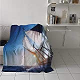Flannel Blanket Throw Sailboat Air Conditioner Blanket Sail Boat in Action Summer Adventure Water Transport Sunset Travel Print for Couch, Sofa or Bed in All Season White Dark Blue 70x84 Inch