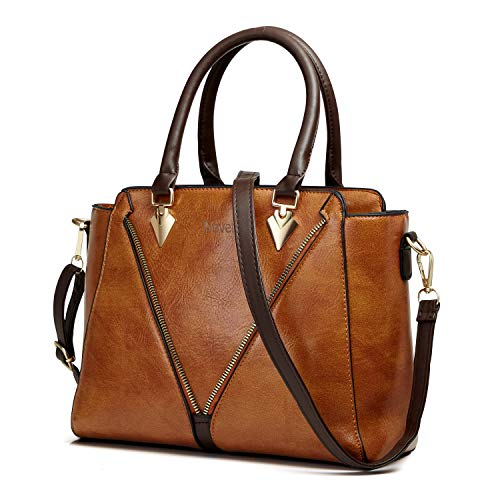 Handbags for Women Nevenka Women's Top Handle Purses and Handbags Fashionable Soft PU Leather Women's Shoulder handbags (Brown)