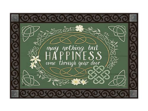 Studio M MatMates Celtic Blessing Irish St. Patrick's Day Decorative Floor Mat Indoor or Outdoor Doormat with Eco-Friendly Recycled Rubber Backing, 18 x 30 Inches
