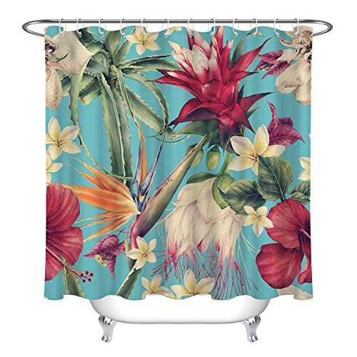LB Tropical Floral Plant Shower Curtain Hawaiian Leaf Cactus Hibiscus Strelitzia Orchid Flower Bathroom Curtains with Hooks Durable Waterproof Fabric Set ,70x70 Inch