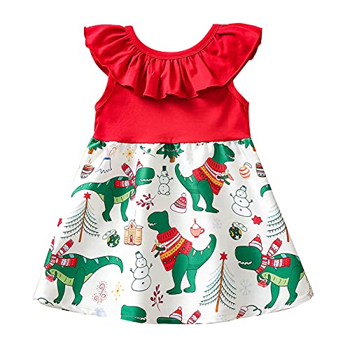 Vacger Toddler Girls Sleeveless Dress Baby Kids Christmas Print Patchwork Off Shoulder Princess Dress Clothes Lovely Dresses Red