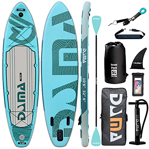 """DAMA 10'6""""x32""""x6"""" Premium Inflatable Stand Up Paddle Board (6 inches Thick) with Durable SUP Accessories, Wide Stance, Surf Control, Non-Slip Deck, Paddle and Pump, Standing Boat for Youth & Adult"""