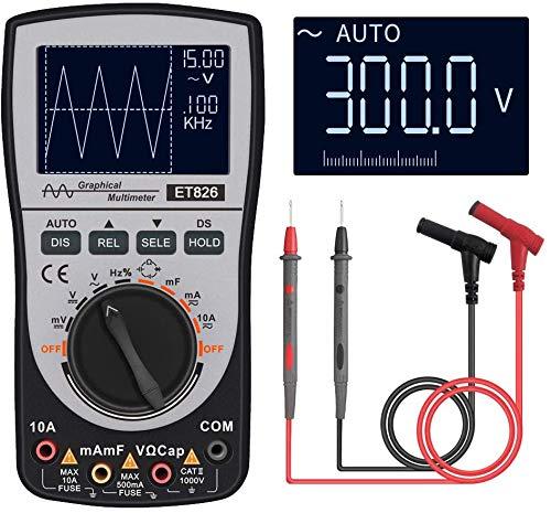Oscilloscope Multimeter, 2-in-1 Intelligent Digital Scope Meter Multimeter, Professional LED Handheld Oscilloscope Multimeter with 200ksps A/D Automatic Waveform Capture Function
