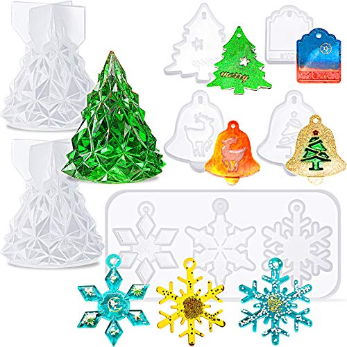 7 Pieces Christmas Resin Silicone Molds 3D Christmas Tree Epoxy Molds Silicone Snowflake Casting Mold Christmas Theme Decoration Molds for Christmas DIY Crafts Making Supplies