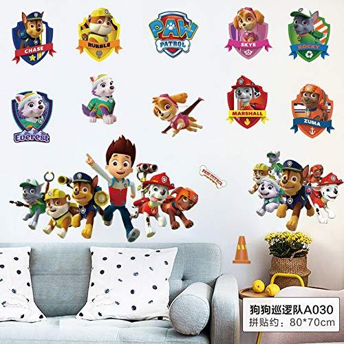 N/S dibujos animados 3D de Patrulla Canina Desmontable, pegatinas de pared para habitación de los niños, decoración del hogar, vinilo para pared de niños, dormitorio o sala de estar, arte 8