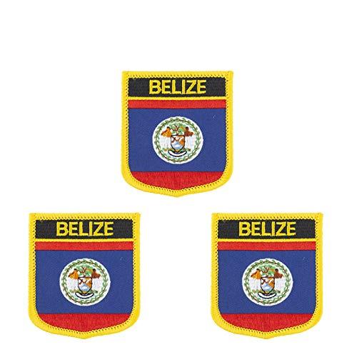Aufnäher mit Belize-Flagge, bestickt, Shiled Form, zum Aufbügeln oder Aufnähen, 3 Stück