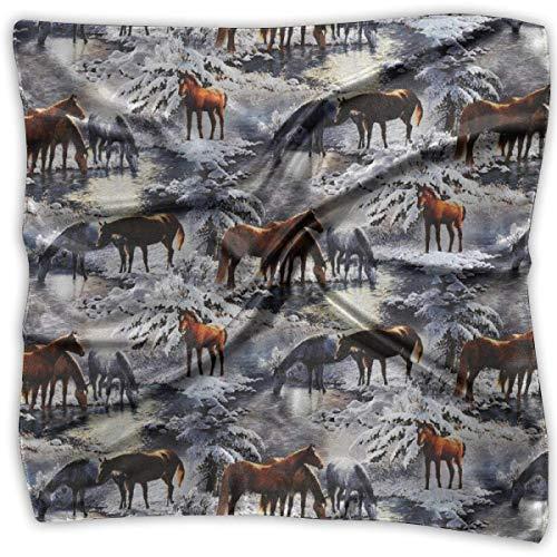 Voxpkrs Cuadrado Satén Pañuelo Caballos y bosques de invierno Seda como un pelo liviano Envoltura de cuello Bufandas cuadradas Grandes