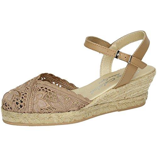 TORRES 5004 Zapatillas DE Encaje Mujer Alpargatas Camel 38