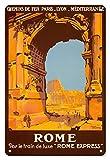 Pacifica Island Art Roma Italia en Tren Roma Express-PLM-Cartel del Viaje del ferrocarril de la Vendimia por Roger Broders c.1921-8inx12 Cartel de Chapa de la Vendimia