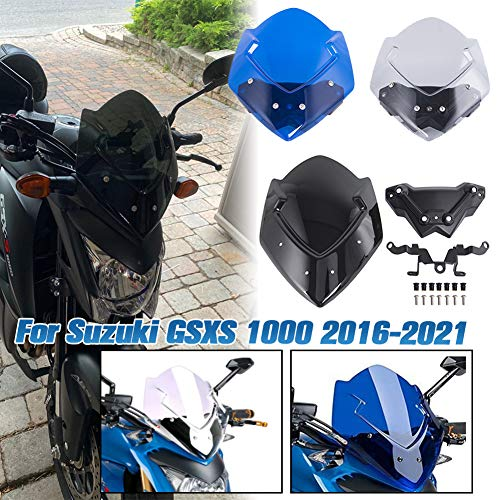 AHOLAAMotorrad Windabweiser Windschutzscheibe Windschild Kälteschutz Verkleidungsscheibe für GSXS1000 GS-XS 1000 GSX-S 1000 2016 2017 2018 2019 2020 2021 Motorräder Zubehör (Blau)