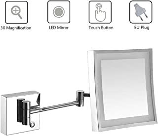 Bathroom Shaving Mirror Wall Mounted, LED Illuminated Makeup Mirror with 3X Magnifying Touch Screen Swivel Extendable Square Vanity Mirror UK Plug