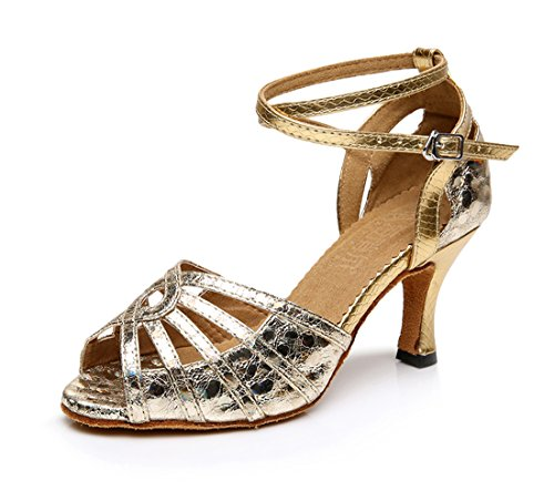 Honeystore Neuheiten Frauen's PU Leder Heels Absatzschuhe Moderne Latein-Schuhe mit Knöchelriemen Tanzschuhe LD0110 Gold 37 CN