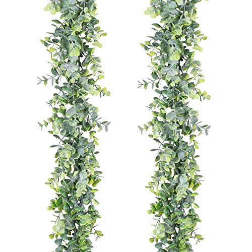 MELAJIA Artificial Eucalyptus Garland Greenery Faux Eucalyptus Hanging Plant 2 Pack 11.6Ft Plants Hanging Vines for Wedding Backdrop Arch Wall Table Party Home Décor