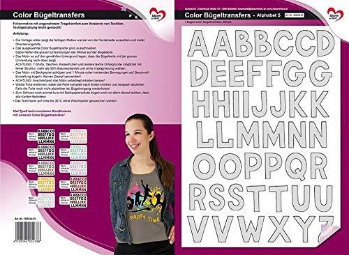 Color Bügeltransfers, DIN A4, ABC, Alphabet | Buchstaben auf Transfer-Folien für Textilien wie T-Shirts & Taschen | Transfer-Bilder schnell & einfach aufbügeln | DIY Textildesign (grau)