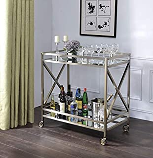Benjara Open Metal Frame 2 Tier Mirrored Serving Cart, Antique Gold and Silver (B07RD7B7ZW)   Amazon price tracker / tracking, Amazon price history charts, Amazon price watches, Amazon price drop alerts