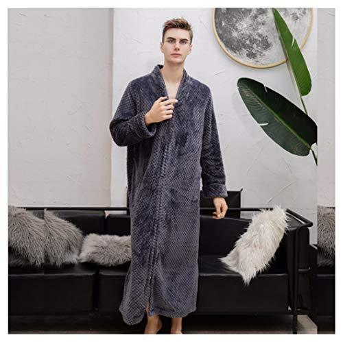 OMFGOD Herren Winter RV Bademantel groß dick lang Flanell Schlafanzug Mode Bequem Freizeit Nacht Kleid Grau, Bild, XL