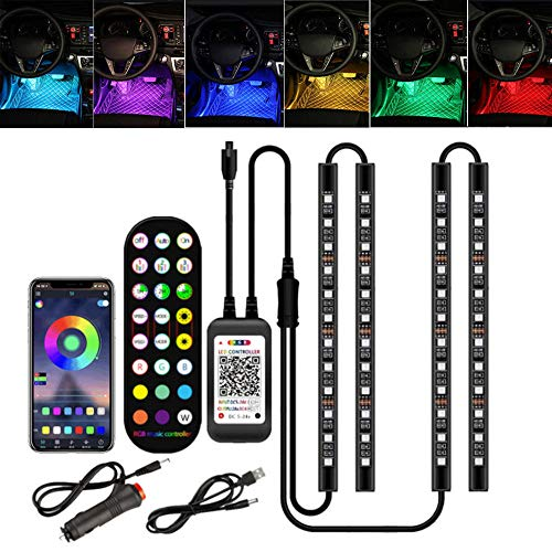 MUSJOS Car Led Strip Light, Neon El Wire Lights With Usb Adapter For Interior Car Lights Underglow, 8 Pods Neon Ambient Light With Remote/App Control, 2 Lines Design, Dc 12V Usb Interface